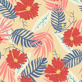 Bezszwowy wzór z liśćmi i kwiatami
