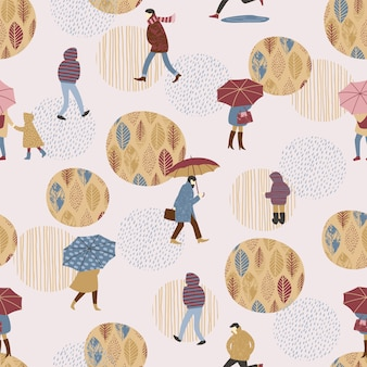 Bezszwowy wzór z ludźmi w deszczu.