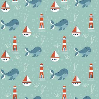 Bezszwowy wzór z morskim tematem