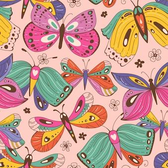 Bezszwowy wzór z motylami