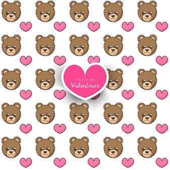 Bezszwowy wzór z niedźwiedziem i sercem