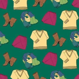 Bezszwowy wzór z odzieżą i akcesoriami