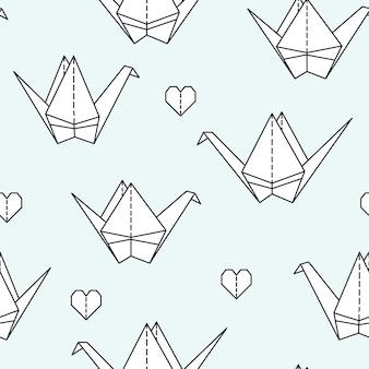 Bezszwowy wzór z origami ptakami.