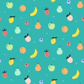 Bezszwowy wzór z owocowymi doodles