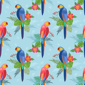 Bezszwowy wzór z papugami. liście palmowe, kwiaty hibiskusa