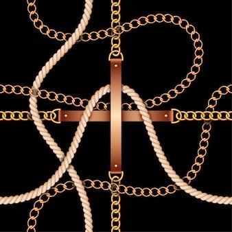 Bezszwowy wzór z paskami, łańcuchami i arkaną