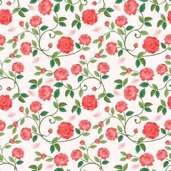 Bezszwowy wzór z piękną różą w rocznika kolorze.