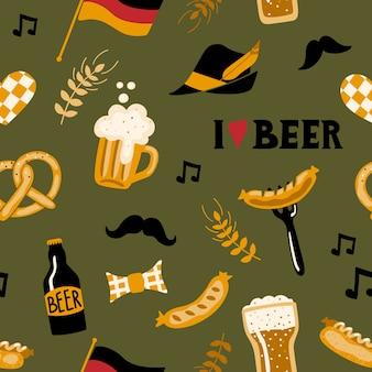 Bezszwowy wzór z piwem.