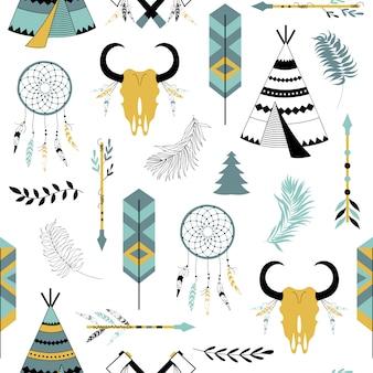 Bezszwowy wzór z plemiennymi elementami.