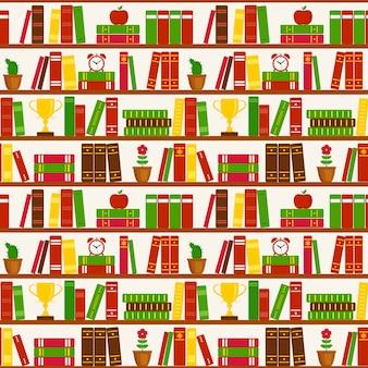 Bezszwowy wzór z półka na książki. wzór wektor.