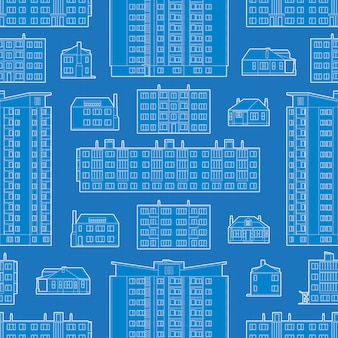 Bezszwowy wzór z projektem budynki mieszkalni