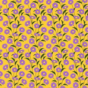 Bezszwowy wzór z purpurowymi stokrotka kwiatami.