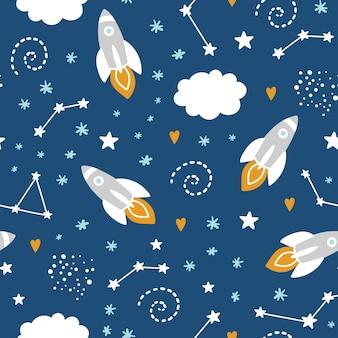 Bezszwowy wzór z rakietą i gwiazdami w przestrzeni
