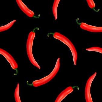 Bezszwowy wzór z realistycznymi czerwonymi gorącymi naturalnymi papryczkami chili na czarnym tle