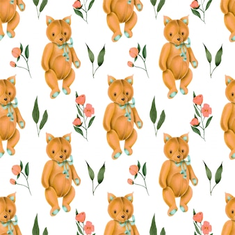Bezszwowy wzór z ręcznie malowanym zabawkarskim lisem i różowymi kwiatami