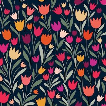 Bezszwowy wzór z ręka rysującymi dekoracyjnymi tulipanami