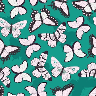 Bezszwowy wzór z ręka rysującymi kolorowymi motylami, zielony tło