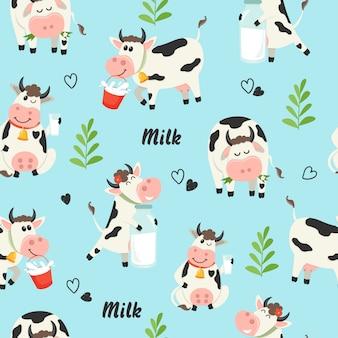 Bezszwowy wzór z rolnymi krowami i dojną butelką