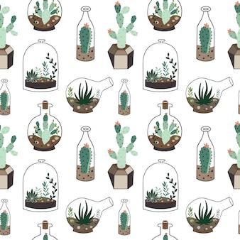 Bezszwowy wzór z roślinami w terrarium.