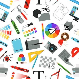 Bezszwowy wzór z różnymi narzędziami pracy