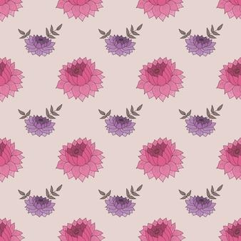 Bezszwowy wzór z różowymi i purpurowymi kwiatami.