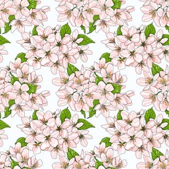 Bezszwowy wzór z różowymi wiosna jabłczanymi kwiatami.