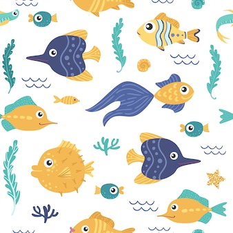 Bezszwowy wzór z ryba