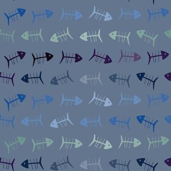 Bezszwowy wzór z rybimi kościami