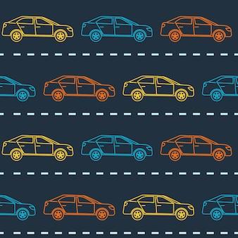 Bezszwowy wzór z sedan samochodami