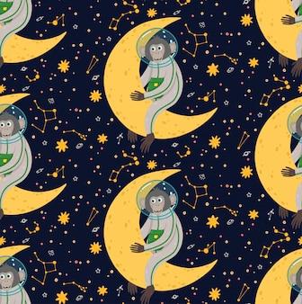 Bezszwowy wzór z śliczną małpą w przestrzeni. ilustracja wektorowa śmieszne dzieci. małpa w kosmosie otoczona gwiazdami.