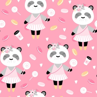 Bezszwowy wzór z śliczną pandą z kawą i tortami.