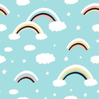 Bezszwowy wzór z śliczną tęczą, gwiazdy, chmury.