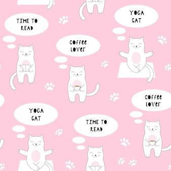 Bezszwowy wzór z ślicznym kotem. kawa, czytanie, joga