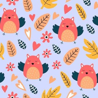 Bezszwowy wzór z ślicznym ptakiem; pozostawia. idealny do tkanin dla dzieci; włókienniczy; tapeta przedszkola