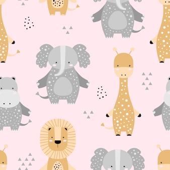 Bezszwowy wzór z ślicznym słoniem, lwem, żyrafą, hipopotamem