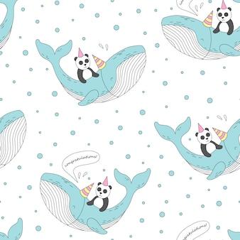 Bezszwowy wzór z ślicznym wielorybem i pandą.