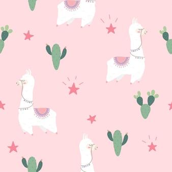 Bezszwowy wzór z ślicznymi alpakami i kaktusem.