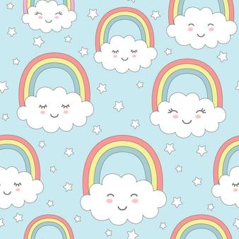 Bezszwowy wzór z ślicznymi chmurami, tęczą i gwiazdami. projekt przedszkola dla dzieci tekstylne, papier pakowy, tapety.