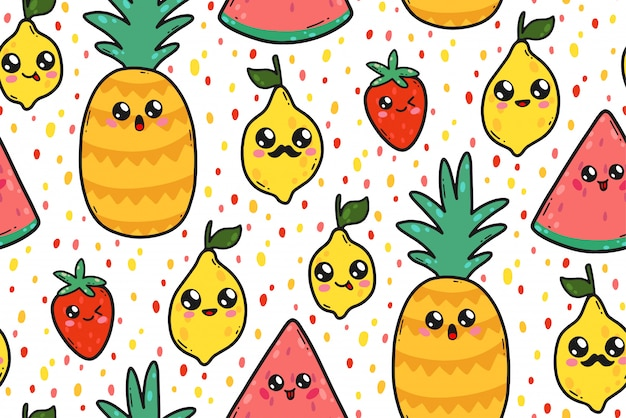 Bezszwowy wzór z ślicznymi cytrynami, arbuzami i truskawkami w japonia kawaii stylu. postacie z owoców szczęśliwy kreskówka z śmieszne twarze ilustracja.