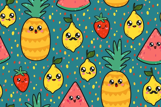 Bezszwowy wzór z ślicznymi cytrynami, arbuzami i truskawkami w japonia kawaii stylu.