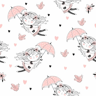 Bezszwowy wzór z ślicznymi dziewczynami lata na parasolach.