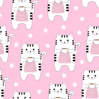 Bezszwowy wzór z ślicznymi kotami i kawą.
