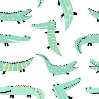 Bezszwowy wzór z ślicznymi krokodylami.