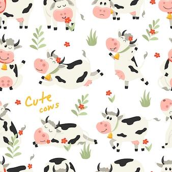 Bezszwowy wzór z ślicznymi krowami