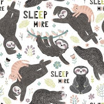 Bezszwowy wzór z ślicznymi leniwcami, liśćmi, brunch