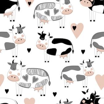 Bezszwowy wzór z ślicznymi różnymi krowami.