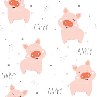 Bezszwowy wzór z ślicznymi świniami.