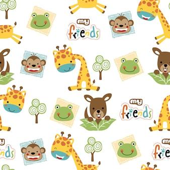 Bezszwowy wzór z ślicznymi zwierzętami kreskówkowymi