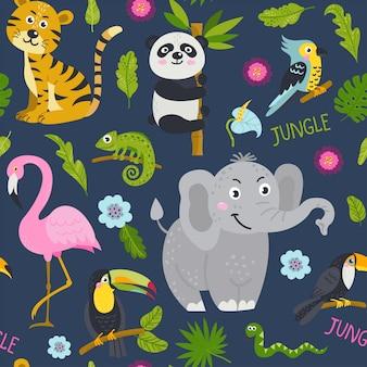 Bezszwowy wzór z ślicznymi zwierzętami