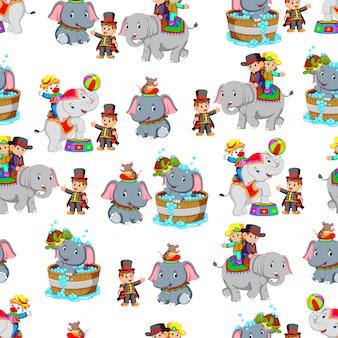 Bezszwowy wzór z słoniem podczas bawić się cyrka
